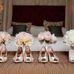 Pink peony maids and white peony bridal handtieds